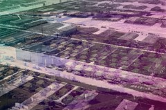 Archival photo of a Japanese internment camp located on the border in Texas–overlayed with an image of the same exact camp– which today is being used to inhumanely detain immigrant families. Image by E.T. Chong.