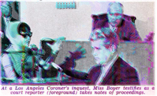 6 Dec 1964, Los Angeles, California, USA — Witness and alleged protitute Elisa Boyer, wearing a disguise, testifies during the Coroner's Inquest of the murder of soul singer Sam Cooke. Edited Image by E.T. Chong.