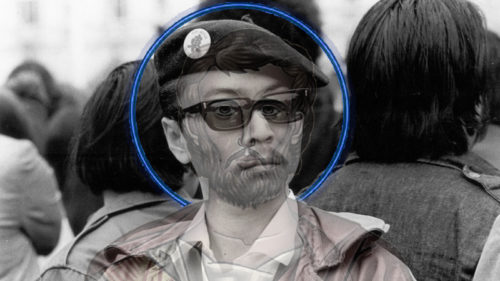 image of the apostle judas overlayed onto Richard Aoki, Japanese American member of the Black Panther Party, who was posthumously revealed to be an FBI informant IMAGE BY E.T. CHONG